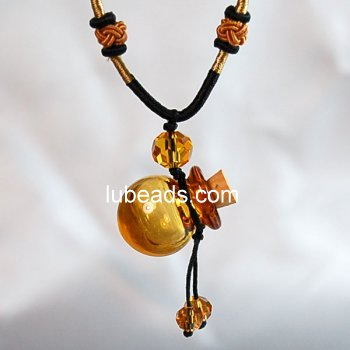 Aromatherapy Jewelry Necklace Hand Blown Glass Pendant Gift PN070