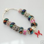 Dichroic Bracelet Pandora Like with Silver Plated Charm P123,Sold per piece