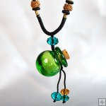 Aromatherapy Jewelry Necklace Hand Blown Glass Pendant Gift PN071