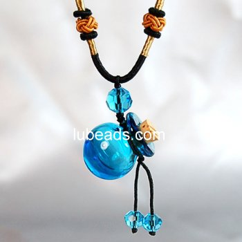 Aromatherapy Jewelry Necklace Hand Blown Glass Pendant Gift PN072