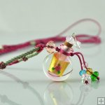 Aromatherapy Jewelry Necklace Hand Blown Glass Pendant Gift PN281