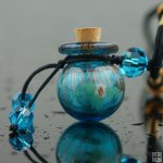 Aromatherapy Necklace made by handblown glass PN335