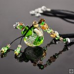 Aromatherapy Necklace made by lampworking glass PN332